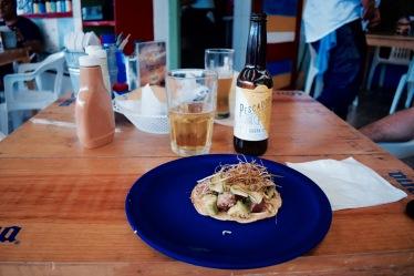 Tostada au thon au restaurant Los Aguachiles - Playa del Carmen